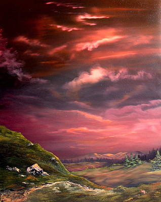 Red Sky At Night Poster by Jean Walker