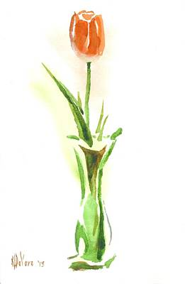 Red Tulip In A Green Vase Poster by Kip DeVore