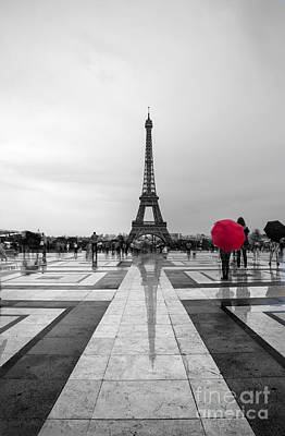 Black And White Paris Poster featuring the photograph Red Umbrella by Timothy Johnson