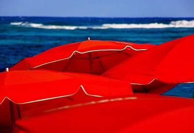 Red Umbrellas  Poster by Karen Wiles