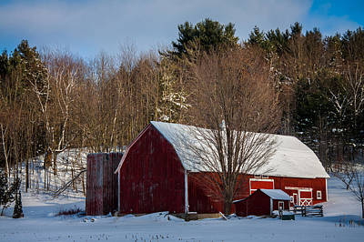 Red Vermont Barn Poster by Jeff Folger