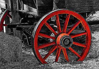 Red Wagon Wheel Poster by Jack Zulli