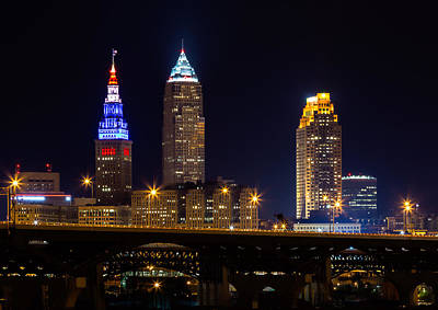 Red White And Blue In Cleveland Poster by Dale Kincaid