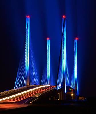Red White And Blue Indian River Inlet Bridge Poster by William Bartholomew