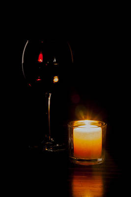 Red Wine By Candlelight Poster by Erin Cadigan