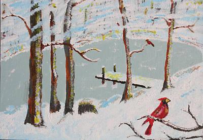 Redbird Winter Poster by Harold Greer