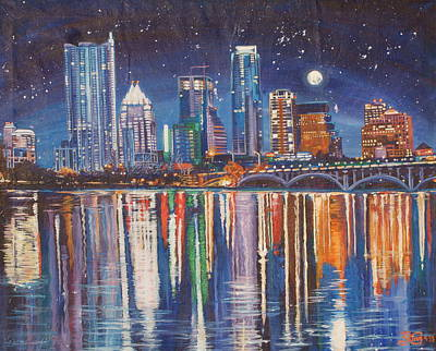 Reflecting Austin Poster by Suzanne King