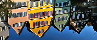 Reflection Of Colorful Houses In Tuebingen In River Neckar Poster by Matthias Hauser