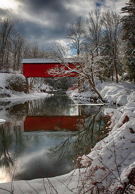 reflection of Slaughterhouse covered bridge Poster by Jeff Folger