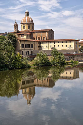 Reflections In The Arno River Poster by Melany Sarafis