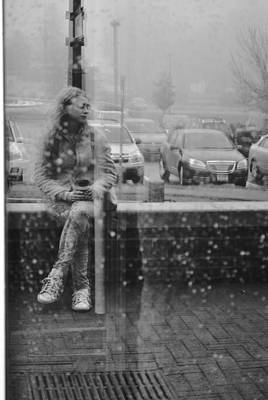 Reflections Of A Rainy Day Black And White Poster by Amanda  Russell