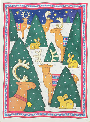 Reindeers Around The Christmas Trees Poster by Cathy Baxter