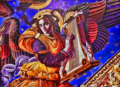 Renaissance Angel With A Harp Poster by Alexandra Jordankova