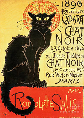 Reopening Of The Chat Noir Cabaret Poster by Theophile Alexandre Steinlen