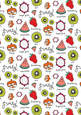 Repeat Print - Fruits Poster by Susan Claire