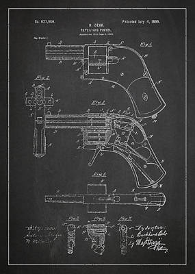 Repeating Pistol Drawing From 1899 Poster by Aged Pixel