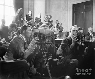 Reporters Filming Law Hearings, 1939 Poster by Library Of Congress