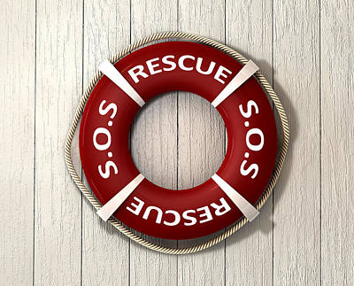 Rescue Lifebuoy Poster by Allan Swart