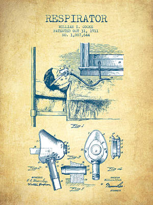 Respirator Patent From 1911 - Vintage Paper Poster by Aged Pixel