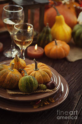Restaurant Autumn Place Setting Poster by Mythja  Photography