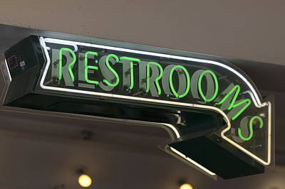 Restrooms In Neon Poster by Scott Campbell