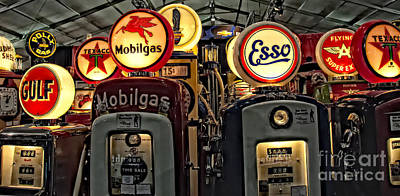 Retro Gas Pumps Poster by Jak of Arts Photography