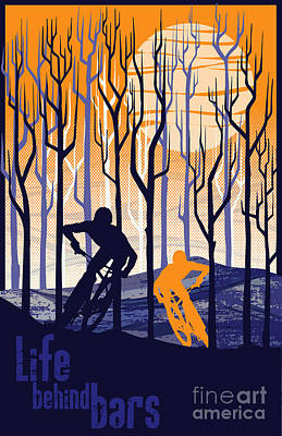 Retro Mountain Bike Poster Life Behind Bars Poster by Sassan Filsoof