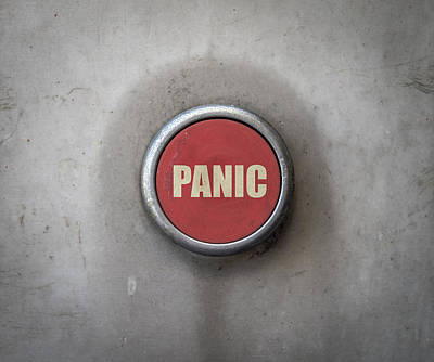 Retro Red Industrial Panic Button Poster by Mr Doomits
