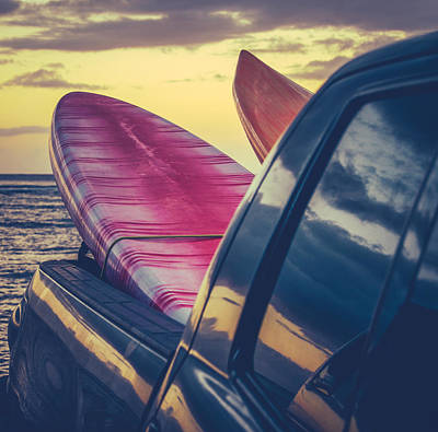 Retro Surf Boards In Truck Poster by Mr Doomits