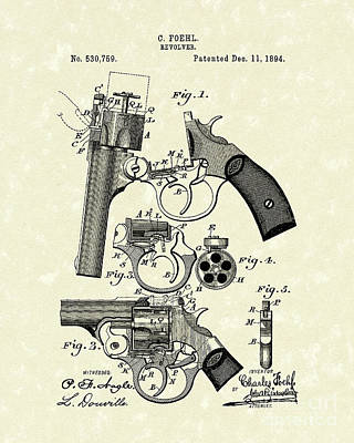 Revolver 1894 Patent Art Poster by Prior Art Design