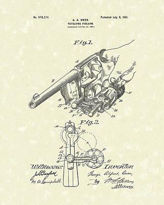 Revolver 1901 Patent Art Poster by Prior Art Design