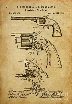 Revolving Fire-arm - Patented On 1875 Poster by Pablo Franchi