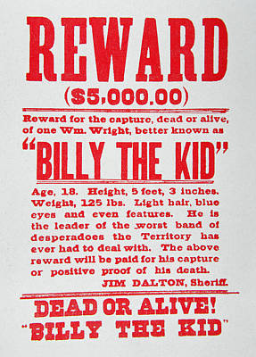 Reward Poster For Billy The Kid Poster by American School