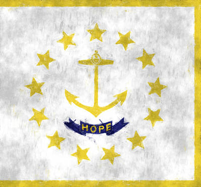 Rhode Island Flag Poster by World Art Prints And Designs