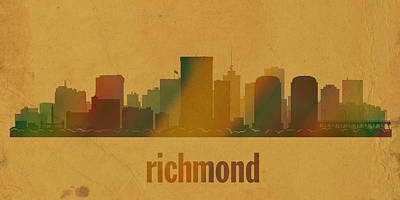 Richmond Virginia City Skyline Watercolor On Parchment Poster by Design Turnpike
