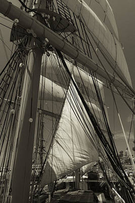 Rigging All Over Black And White Sepia Poster by Scott Campbell