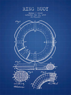 Ring Buoy Patent From 1909 - Blueprint Poster by Aged Pixel