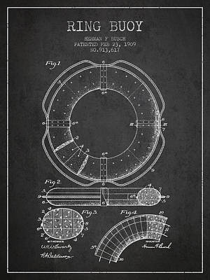 Ring Buoy Patent From 1909 - Charcoal Poster by Aged Pixel