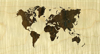 Rio Rosewood And Curly Maple World Map Poster by Hakon Soreide