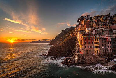 Riomaggiore Rolling Waves Poster by Mike Reid