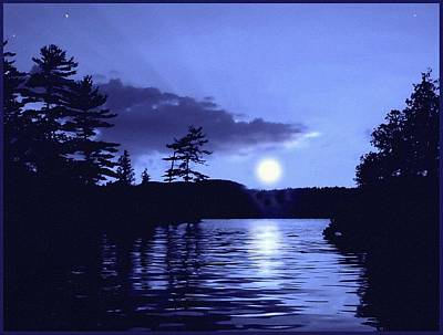 Rising Moon On The Lake Poster by Hank  Clark