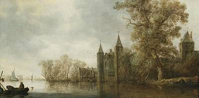 River Landscape With A Medieval Fortification Poster by Celestial Images