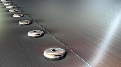 Rivets On Brushed Metal Perspective Poster by Allan Swart