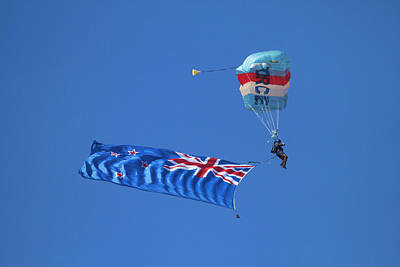 Rnzaf Sky Diver And New Zealand Flag Poster by David Wall