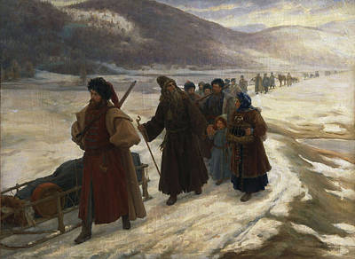 Road To Siberia Oil On Canvas Poster by Sergei Dmitrievich Miloradovich