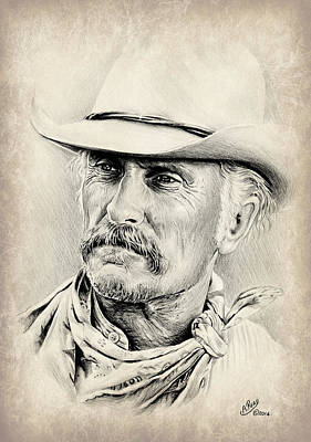Robert Duvall Sepia Scratch Poster by Andrew Read