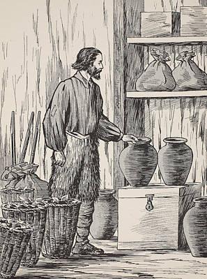 Robinson Crusoe In His Storeroom Poster by English School