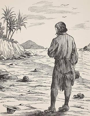 Robinson Crusoe On His Island Poster by English School