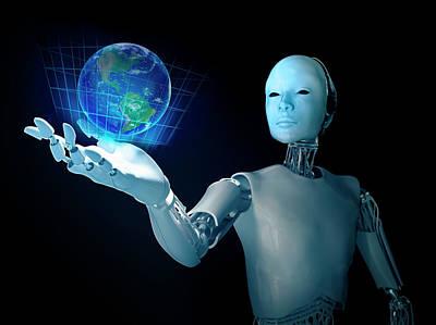 Robot Holding Earth Poster by Andrzej Wojcicki