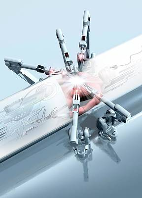 Robotic Arms Operating On A Patient Poster by Victor Habbick Visions